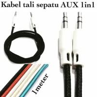 Kabel aux 1x1 model tali sepatu 3.5mm Kabel speaker Audio Single