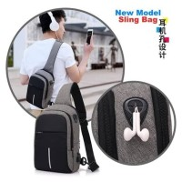 Tas pria Slingbag USB earphone Upgrade Double Bag tas selempang