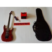 Gitar Ibanez Premium Paketan Ampli, Kabel Jack Dan Tas (merah)