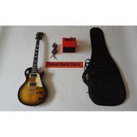 Gitar Gibson Les Paul Sunbrush Paketan Ampli , Kabel Jack & Tas Gitar