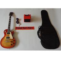 Gitar Gibson Les Paul Chery Paketan Ampli , Kabel Jack Dan Tas Gitar