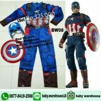 Kostum kapten amerika impor Promo + 2 topeng + tameng CAPTAI