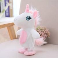 Talking walking unicorn mainan boneka unicorn bisa bicara dan berjalan
