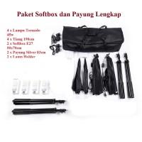 Paket Photo Studio Kit Softbox Payung Silver Lampu Continuous
