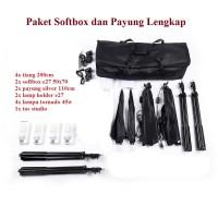 Paket Photo Studio Kit Softbox Payung Silver Besar Lampu Continuous