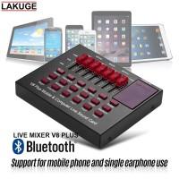 Bluetooth Live Mixer Broadcast Audio USB External Soundcard V8 Plus