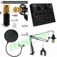 PAKET KOMPLIT MIC BM800 STAND Microphone BM 800 SOUNDCARD MIXER V8