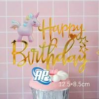 Cake topper unicorn pink / tusukan hiasan kue acrylic aneka motif e