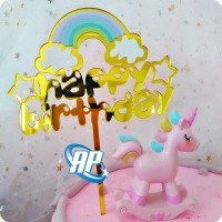 Cake topper awan pelangi / tusukan hiasan kue acrylic aneka motif c