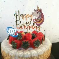Cake topper kepala unicorn / tusukan hiasan kue acrylic aneka motif d