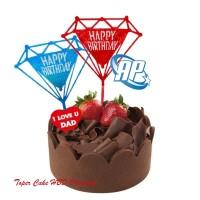 Cake Topper Happy Birthday diamon Tusukan Hiasan Kue Acrylic JUMBO