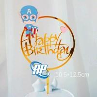 Cake topper captain amerika / tusukan hiasan kue acrylic aneka motif a