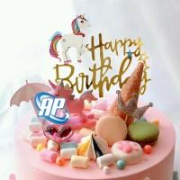 Cake topper unicorn pegasus / tusukan hiasan kue acrylic aneka motif b