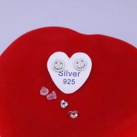 giwang smile perak silver 925.giwang lucu lapisan krom mas putih awet