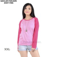 Belle Fashion RGL.W Baju Kaos T-Shirt Raglan Warna Jumbo Lengan