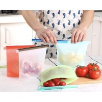 1000ml Reusable Ziplock Fresh Bags Silicone tempat makanan fresh bag