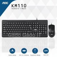 AOC KM110 Bundle Paket Keyboard Multimedia & Optical Mouse USB Combo