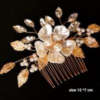sirkam bunga daun aksesoris rambut pesta qs772