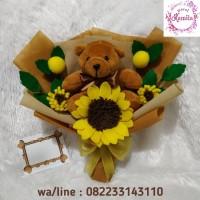 handbouquet buket bunga matahari flanel boneka teddy bear kado unik