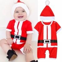 Kostum Natal bayi / Jumper bayi merah christmas dan topi santa claus
