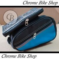 Tas depan Segitiga Tas HP Holder HP sepeda double frame depan