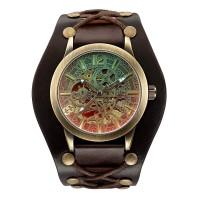 Jam Tangan Mekanik Automatic Retro Klasik Antik Shenhua Brown Leather