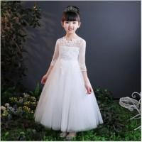 Gaun Pesta Anak Putih Rok dan Lengan Panjang