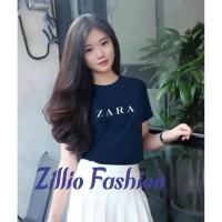 Kaos Zara Oblong Wanita Baju Distro Cewek Atasan Kekinian Murah Tshirt