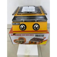 2-Head BBQ Roaster/ Pemanggang Tanpa Asap WILLMAN WM-K111B Cover Kaca