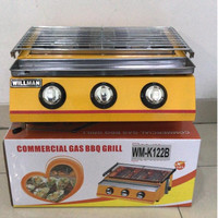 3-Head BBQ Roaster/ Pemanggang Tanpa Asap WILLMAN WM-K122B Cover Kaca