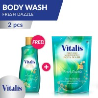 Vitalis Body Wash Big Package Fresh Dazzle Bottle and Pouch