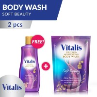 Vitalis Body Wash Big Package Soft Beauty Bottle and Pouch