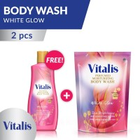 Vitalis Body Wash Big Package White Glow Bottle and Pouch