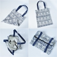 TOTE BAG CANVAS INDIAN MOTIF GOOD QUALITY WITH RESLETING / TAS TOTE