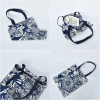 TOTE BAG CANVAS FLOWER NAVY GOOD QUALITY WITH RESLETING / TAS TOTE