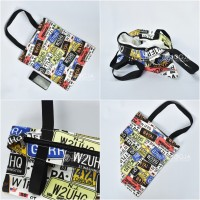 TOTE BAG CANVAS RETRO GOOD QUALITY WITH RESLETING / TAS TOTE