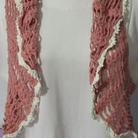 Cardigan kombinasi white & pink rajut tangan