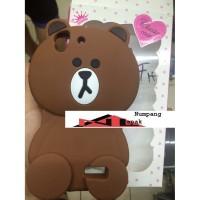 Case 4D Brown Oppo F1 Plus R9 Line Karakter Polos Softcase Rubber Moti