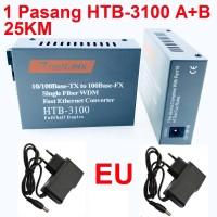HTB-3100 A+B Fiber Optical Media Converter RJ45 Netlink 1 Pasang 25KM
