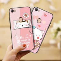 GLASS CASE OPPO F5 F5 YOUTH F5 PLUS CAT