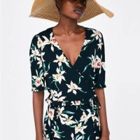 22931 Black Floral Set Top Shorts Murah