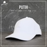 Topi Baseball Polos Putih Pengait Belakang Besi