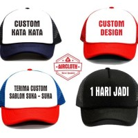 Topi Trucker + Custom Bebas Design Tulisan - 1 Warna Polyflex Pu