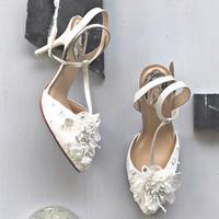 White Floral Wedding shoes 9cm