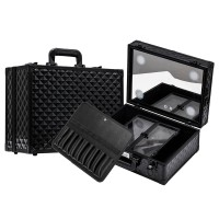 Sonia Miller Beauty Makeup Case Koper Cosmetic Box Lampu 4 LED Black thumbnail