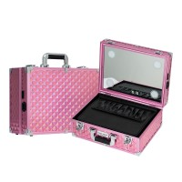 Sonia Miller Beauty Makeup Case Koper Cosmetic Box Lampu 4 LED Pink D thumbnail