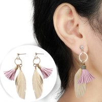Round Tassel Feather Earrings 03322Er