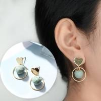 Love Heart Ball Studs Earrings 032F95r