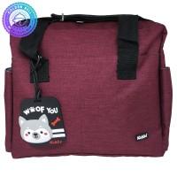 Tas Selempang Perlengkapan Bayi / Sling Diaper Bag + Bag Tag Maroon
