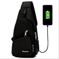AY TAS Selempang Pria USB Port Charger Sling Bag